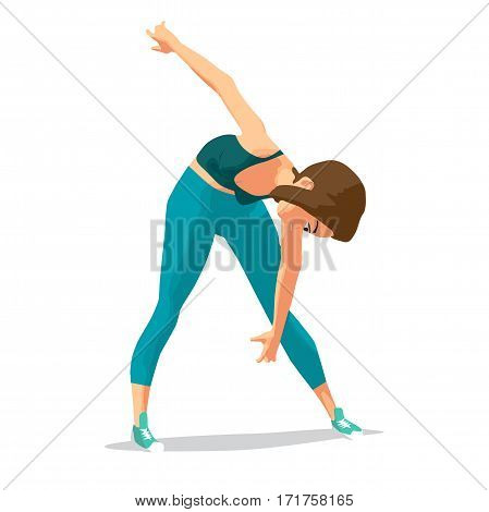 Girl doing gymnastic exercises. Woman in sportswear leans to the floor. Flat cartoon isolated vector illustration