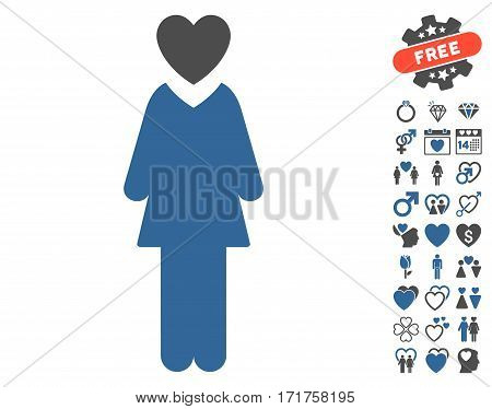 Mistress icon with bonus amour graphic icons. Vector illustration style is flat iconic cobalt and gray symbols on white background.