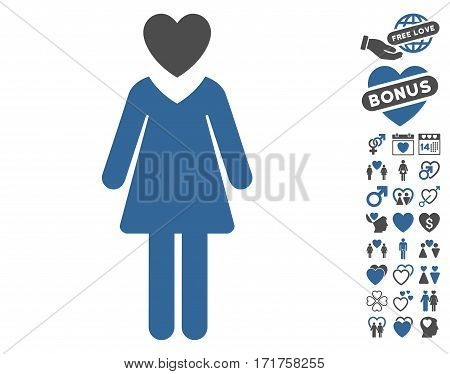 Mistress pictograph with bonus decorative design elements. Vector illustration style is flat iconic cobalt and gray symbols on white background.