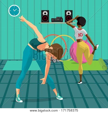 Women doing gymnastic exercises. Girls in sportswear doing stretching leg and leans to the floor. Flat cartoon vector illustration