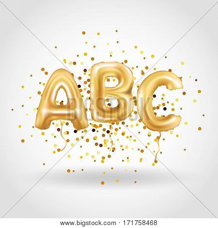 ABC gold letter balloons. Golden alphabet balloon logotype, icon logo. Metallic Gold ABC Balloons. Shine type for school, study, children, kids, read. Shiny bright font in the air.