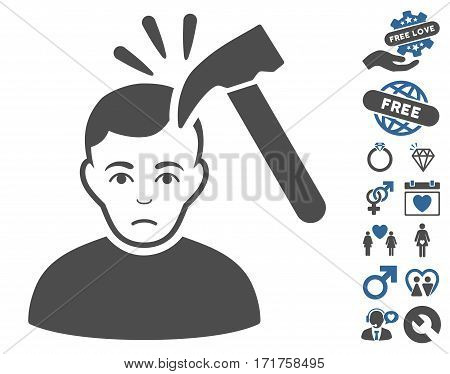 Murder With Hammer icon with bonus valentine graphic icons. Vector illustration style is flat iconic cobalt and gray symbols on white background.
