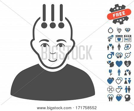 Neural Interface icon with bonus love symbols. Vector illustration style is flat iconic cobalt and gray symbols on white background.