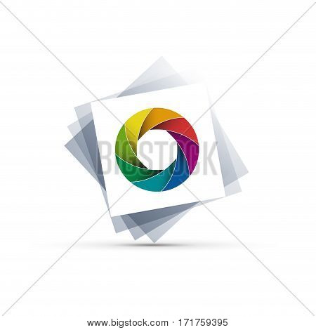 Vector sign photographer colorful diaphragm of the lens
