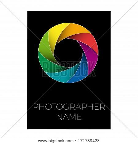 Vector sign photographer colorful diaphragm of the lens. Black background