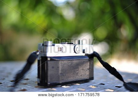 The Old Retro Vintage Of Rangefinder Film Camera Style Is The Classic Object Item In Past History Of