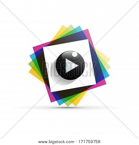 Vector sign cmyk playback, isolated illustration on white