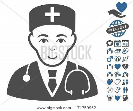 Physician pictograph with bonus lovely design elements. Vector illustration style is flat iconic cobalt and gray symbols on white background.