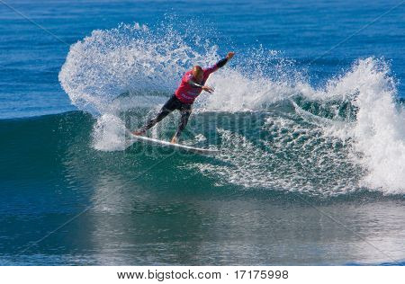 SAN CLEMENTE, CA, SEPTEMBER 14, 2007:  Professional surfer Kelly Slater does a big turn at the Boost Mobile Pro September 14, 2007 in San Clemente, Ca.