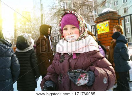 Russian Teen Girl On Maslenitsa Folk Fest
