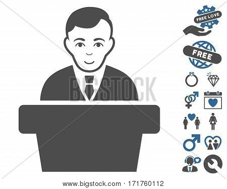 Politician icon with bonus lovely pictures. Vector illustration style is flat iconic cobalt and gray symbols on white background.