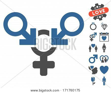 Polyandry icon with bonus romantic pictograms. Vector illustration style is flat iconic cobalt and gray symbols on white background.