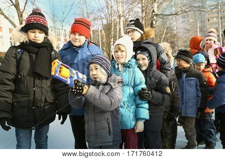 School Kids Celebrate Maslenitsa Fest Shoot Competiton