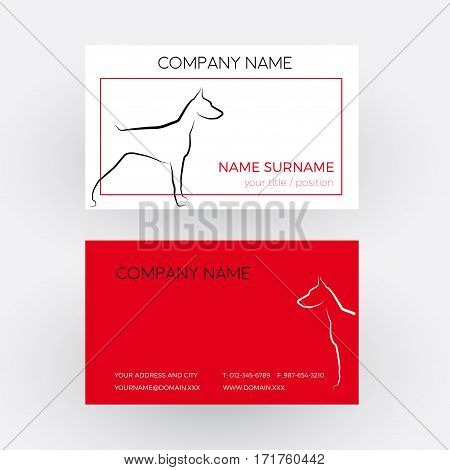 Vector Abstract dog doberman. Business card in red