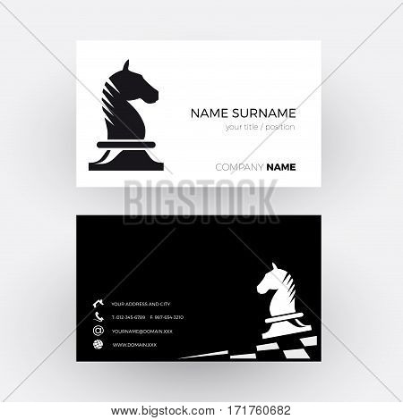 Vector Abstract Chess with horse background. Business card
