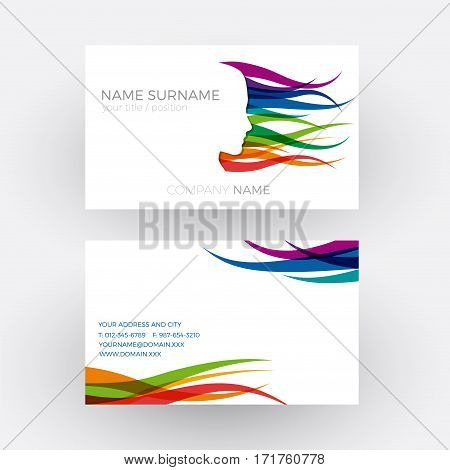 Vector Abstract female head concept of hairdresser. Business card