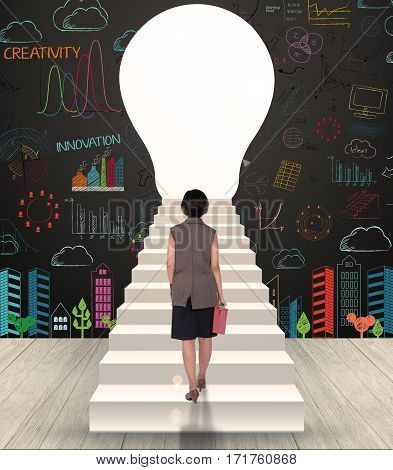 business women walk in the door keyhole with drawing creative idea business on wall. concept business success.