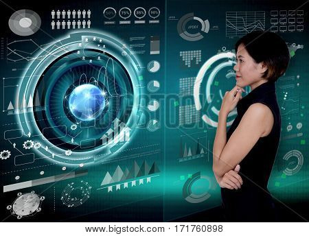 Businesswomen with financial analysis graph and key performance indicators on virtual screen.
