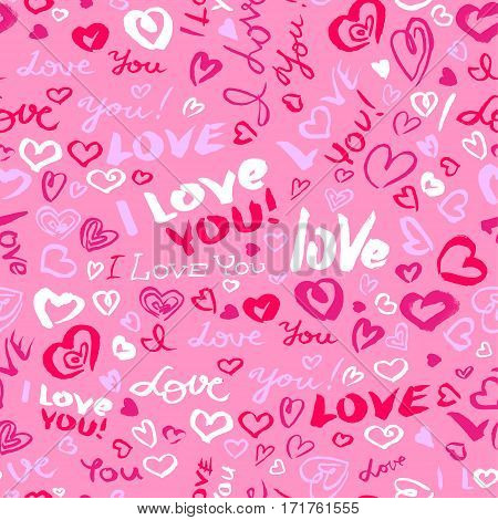 Valentine's day or wedding seamless pattern with hearts and I Love You hand drawing lettering. Doodle artistic background in red and pink colors