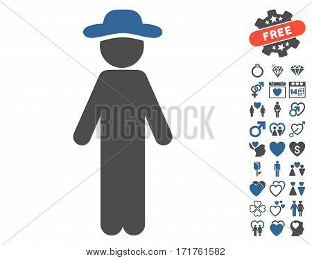 Standing Gentleman icon with bonus lovely images. Vector illustration style is flat iconic cobalt and gray symbols on white background.