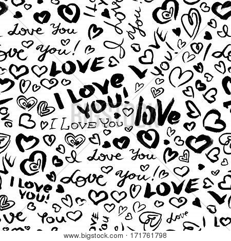 Valentine's day or wedding seamless pattern with hearts and I Love You hand drawing lettering. Doodle artistic background in black and white colors