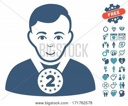 2nd Prizer Sportsman icon with bonus passion icon set. Vector illustration style is flat iconic cyan and blue symbols on white background.