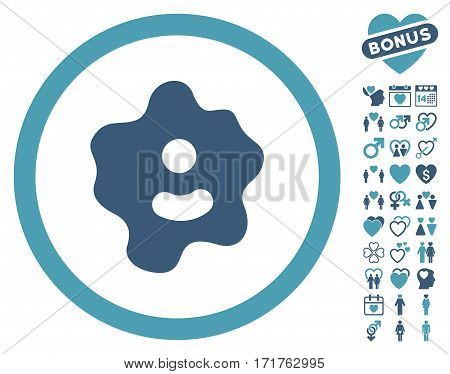 Ameba icon with bonus romantic design elements. Vector illustration style is flat iconic cyan and blue symbols on white background.