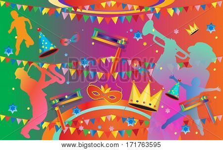 Happy Purim festival flyer. Purim Jewish Holiday decorative poster with traditional hamantaschen cookies, toy grogger noisemaker, carnival mask, kids, musicians, crown, garland, festive confetti background.