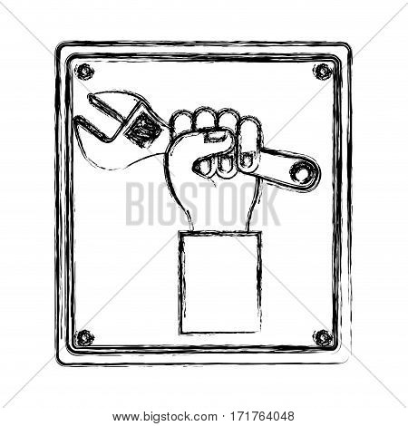 blurred silhouette plaque with hand holding wrench tool vector illustration