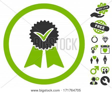 Approvement Seal pictograph with bonus amour pictograms. Vector illustration style is flat iconic eco green and gray symbols on white background.