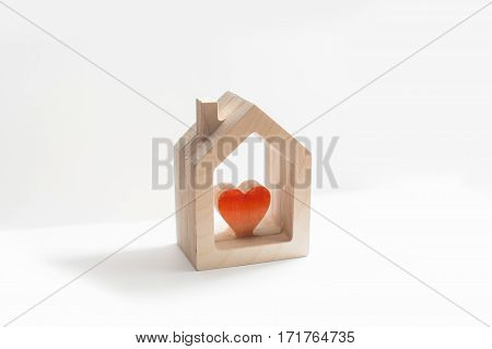 house, wooden house, a tree, on a white background, heart,