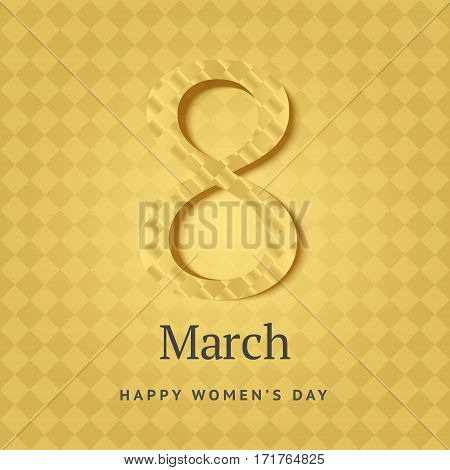 8 Of March Vector Background Design. Happy Women Day Holiday Banner Layout. Greeting Letter Or Postc