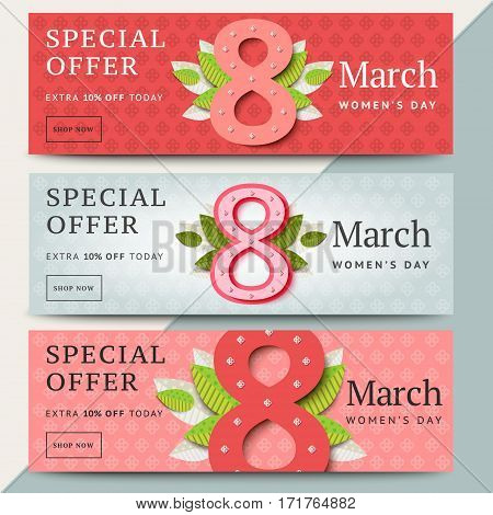 8 Of March Vector Sale Banner Design. Happy Women Day Holiday Promo Website Layout. Special Offer Le