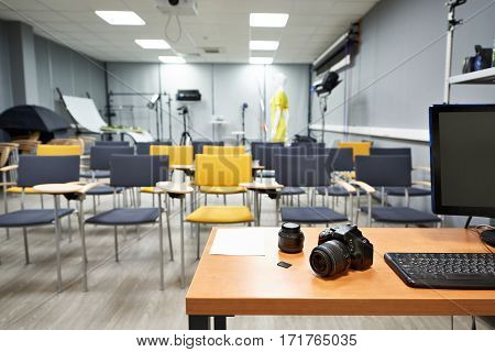 Place Of Teacher In Photography School Classroom