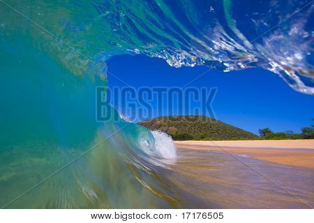 View from Inside the Tube of a Wave looking Towards the Beach, A Surfers Perspective