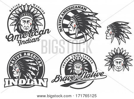 Set of american indian round logo badges and emblems isolated on white background. Face head of american indian. Tee print design.