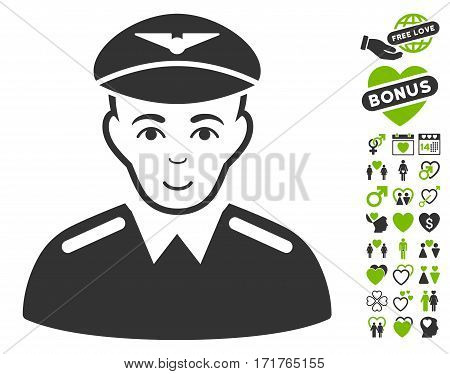 Aviator pictograph with bonus amour images. Vector illustration style is flat iconic eco green and gray symbols on white background.
