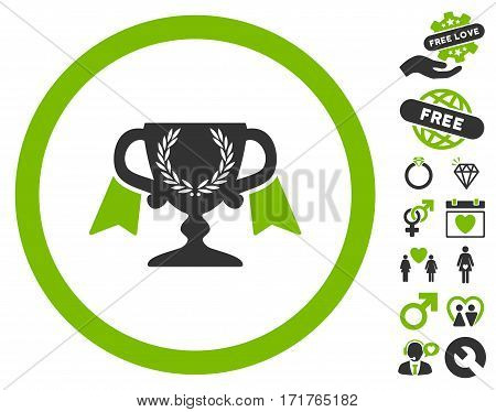 Award Cup icon with bonus decorative design elements. Vector illustration style is flat iconic eco green and gray symbols on white background.
