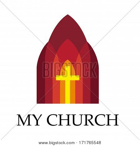Vector sign gothic church with three aisled and a cross