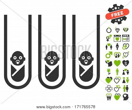 Baby Cloning Test-Tubes pictograph with bonus decorative design elements. Vector illustration style is flat iconic eco green and gray symbols on white background.