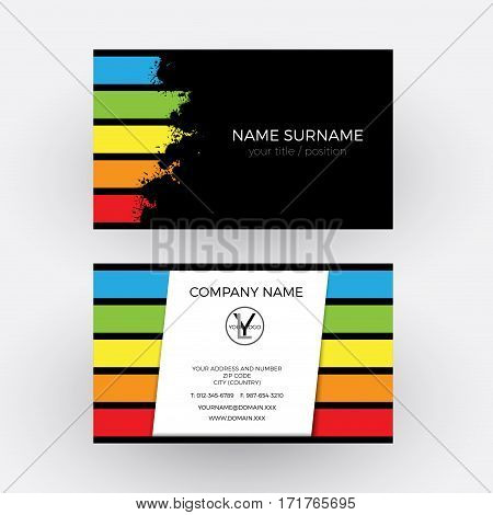 Vector Abstract graphic design concept of painter. Business card