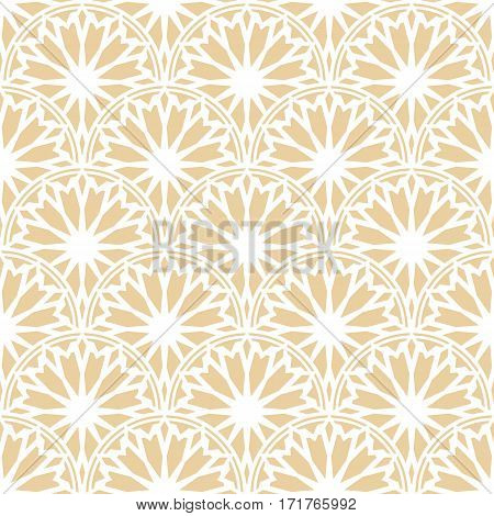 Rising sun seamless pattern. Stylish textile print with lacy design. Arc ethnic fabric background.