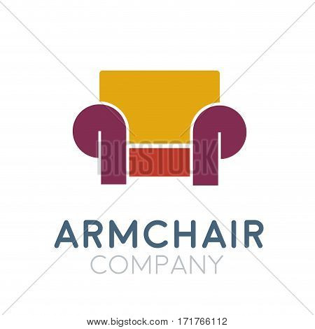 Vector sign abstract classic armchair, isolated illustration