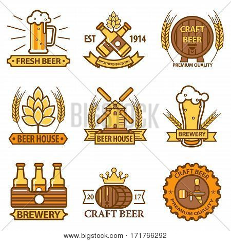 Beer vector logos templates set for brewery bar or pub, beerhouse sign or alcohol drink labels set
