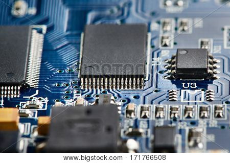Microchips On Electronic Board