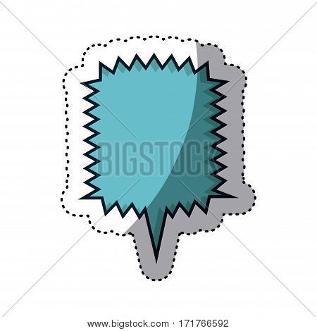 blue sticker square callout scream for dialogue vector illustration