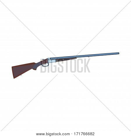 Vector illustration of hunting rifle isolated on white background flat style design