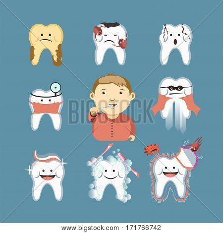 Cartoon teeth brushing for child with healthy tooth or cavity disease prevention, toothbrush and toothpaste for children dentistry template icons