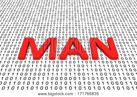 man in the form of binary code, 3D illustration
