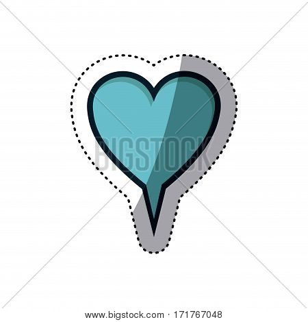 blue sticker heart shape dialog box vector illustration